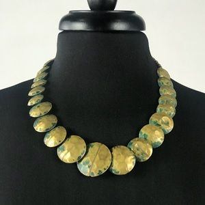 Hammered Gold and Green Necklace